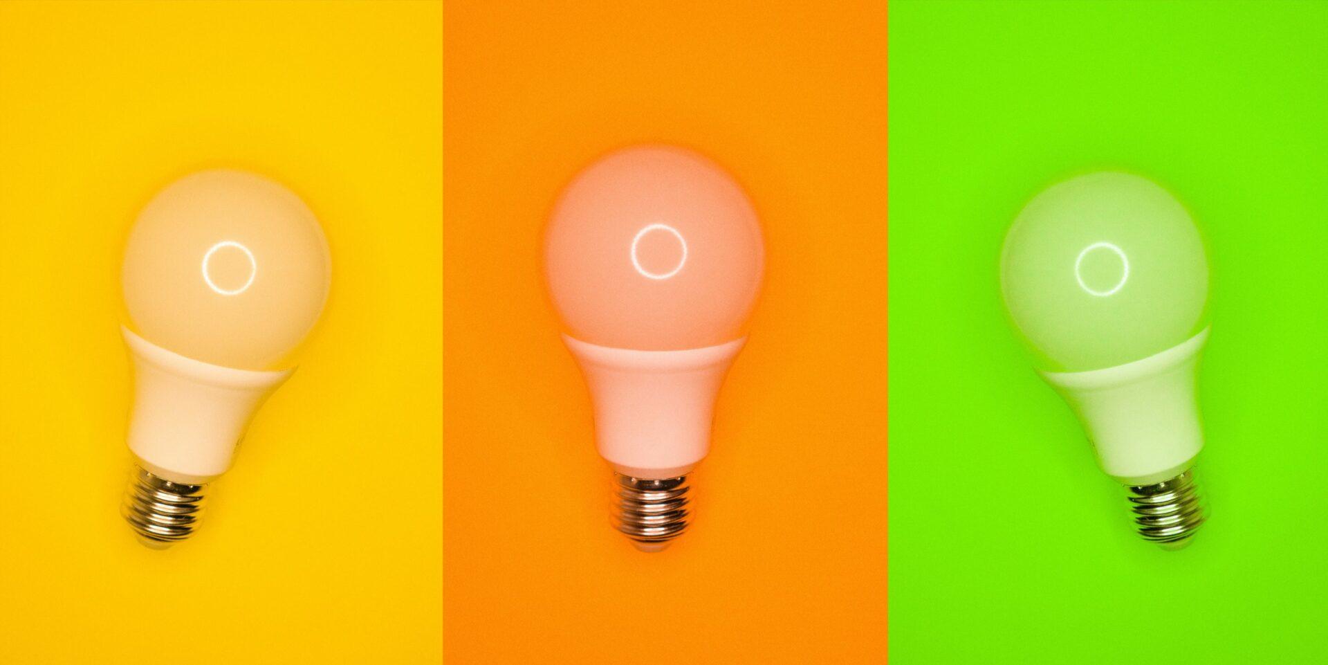 Still life three light bulbs